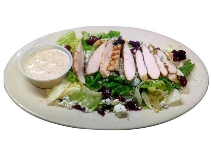 Grilled chicken breast on lettuce and romaine, dried cranberries, walnuts, bleu cheese crumbles, poppyseed dressing