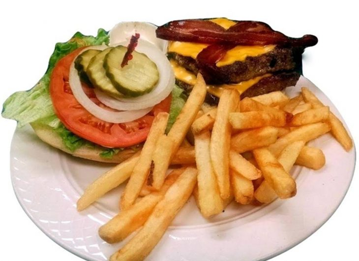 Our Specialty with two 1/3 lb. patties with cheese, bacon, lettuce, tomato, onion and mayo