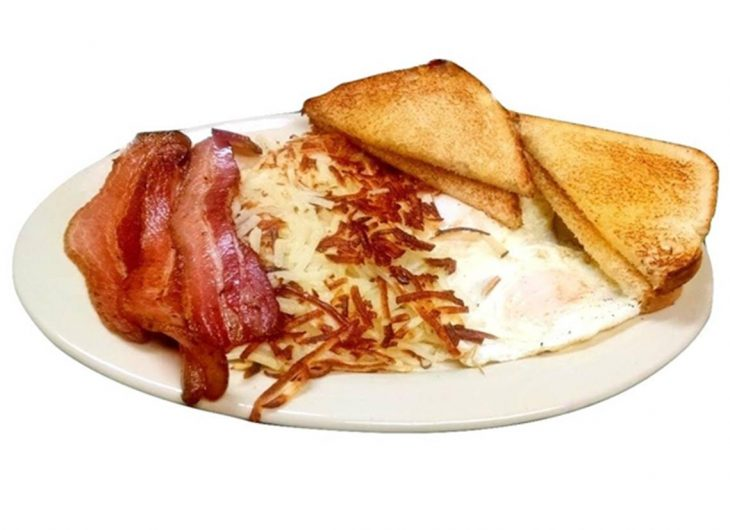 Start your morning with two eggs any style, hashbrowns, choice of meat and toast