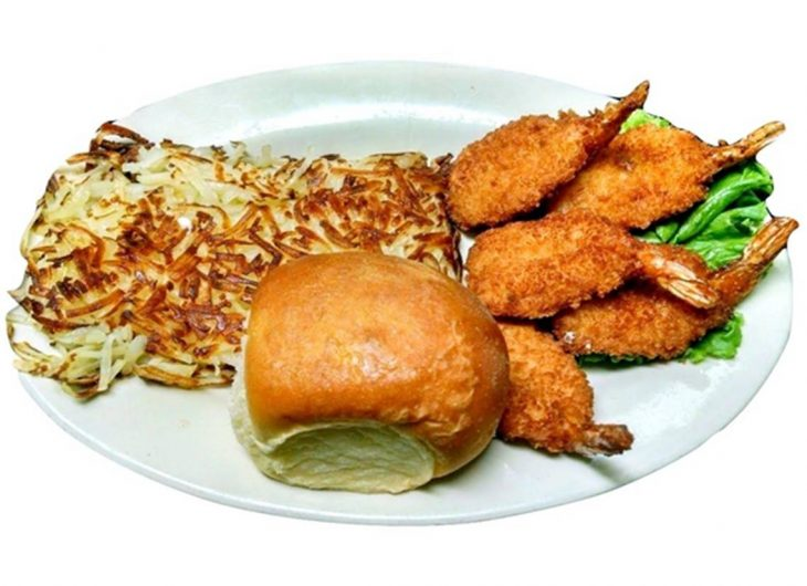 Five breaded jumbo shrimp fried to a golden brown